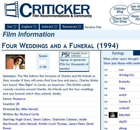 Film recommendation engine