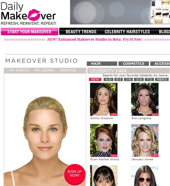 Dailymakeover Online Virtual Makeover Site Nbcdaily