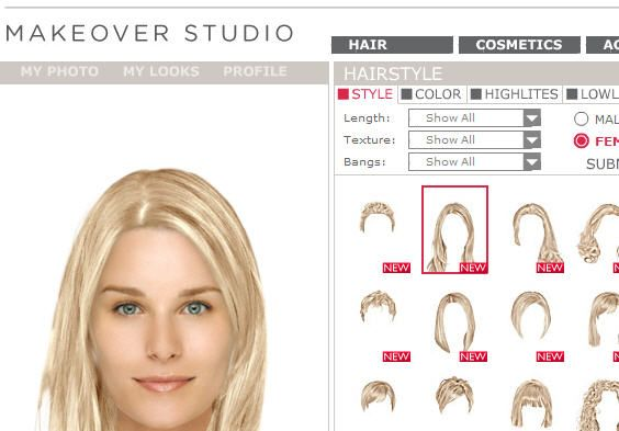 Try On Different Hair Styles: DailyMakeover: Online Virtual Makeover Site