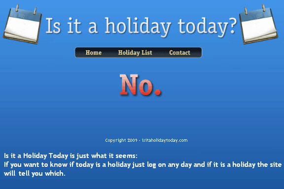 isitholidaytodat   IsItaHolidayToday: Check If Today Is A Holiday