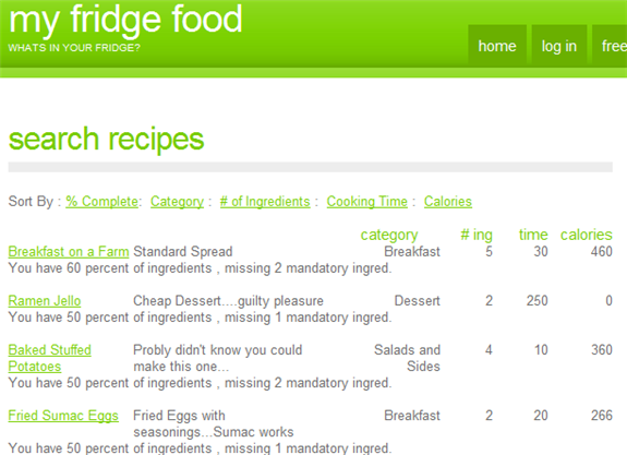 find recipe by listing ingredients