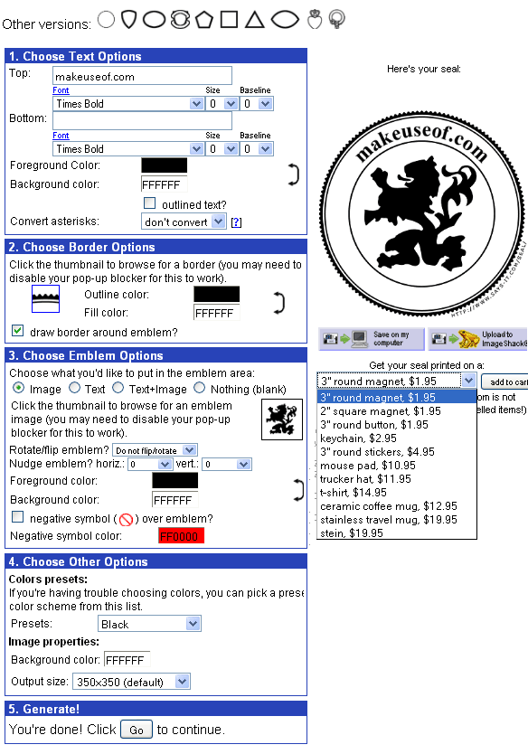 create seals online