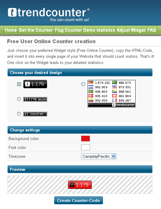 site counter widget