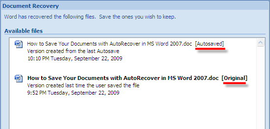 How To Autosave Docs with AutoRecover in MS Word 2007