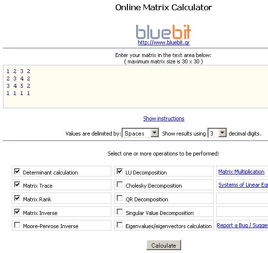 matrix calculations online