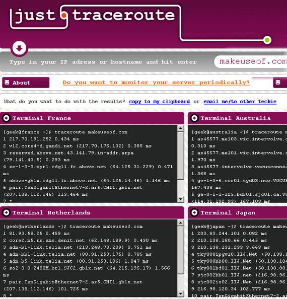 run traceroute