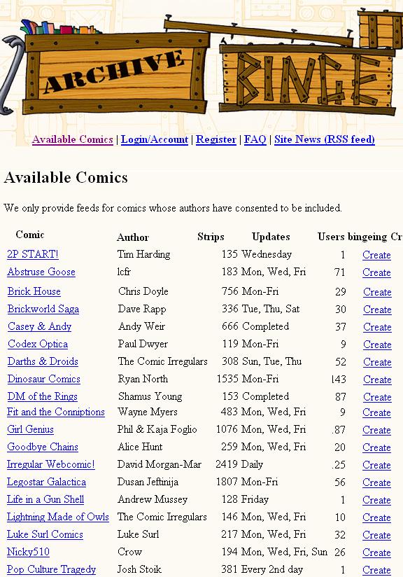 archivebinge   ArchiveBinge: Web Comics RSS Feeds Generator