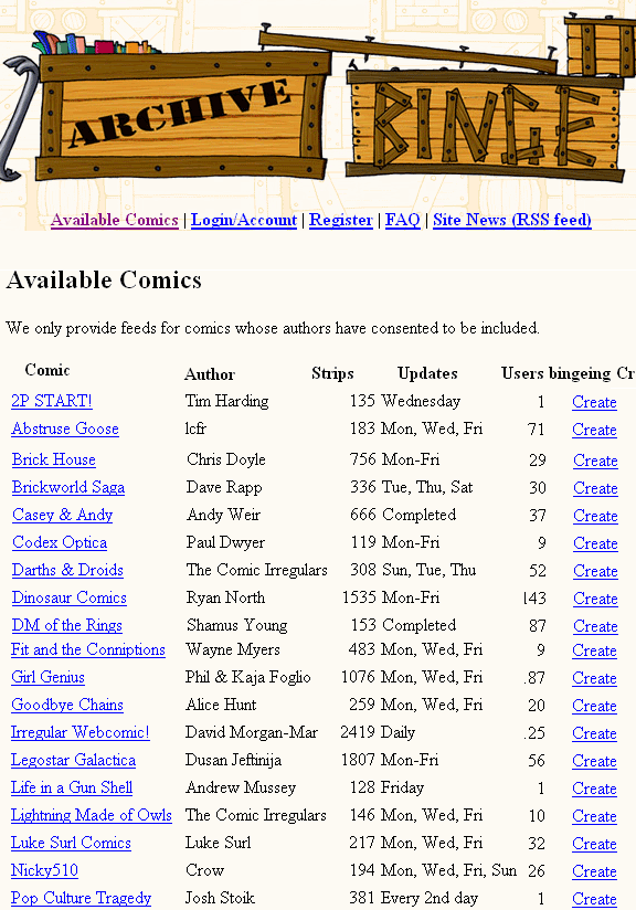 archivebinge   ArchiveBinge: Web Comics RSS Feeds Generator