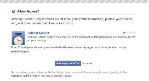 facebook login sidebar