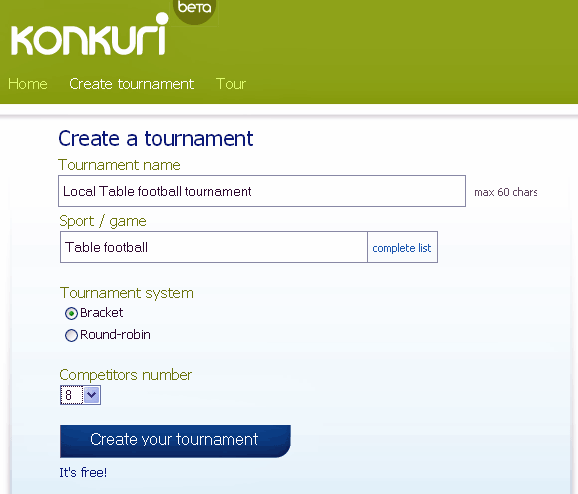 organize tournament