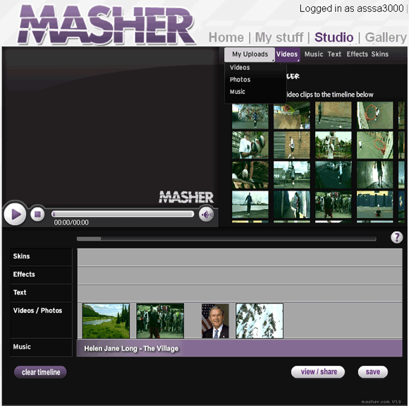 Masher: Create Videos by Mixing Video Clips, Photos & Music masher1