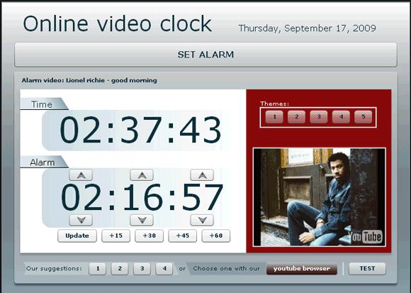 video alarm clock