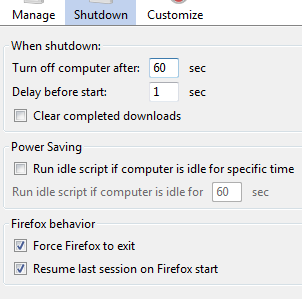 How To Auto Shutdown The Computer (or Firefox) after Downloads Complete options1