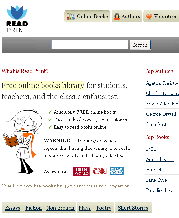 readprint   ReadPrint: Read Whole Books Online