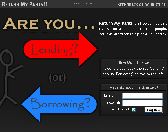 returnmypants   ReturnMyPants: Easily Track Borrowed & Lent Items