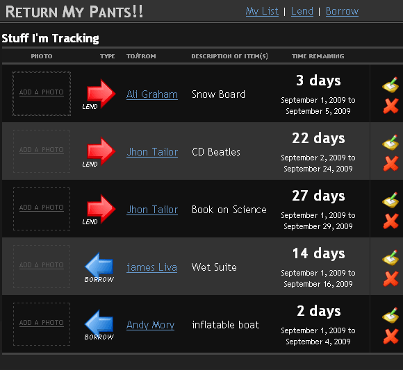 ReturnMyPants: Easily Track Borrowed & Lent Items returnmypants2