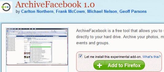 ArchiveFacebook Addon