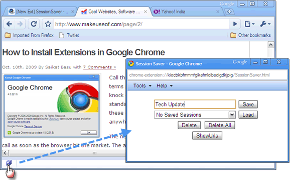 Session-Saver extension for google chrome