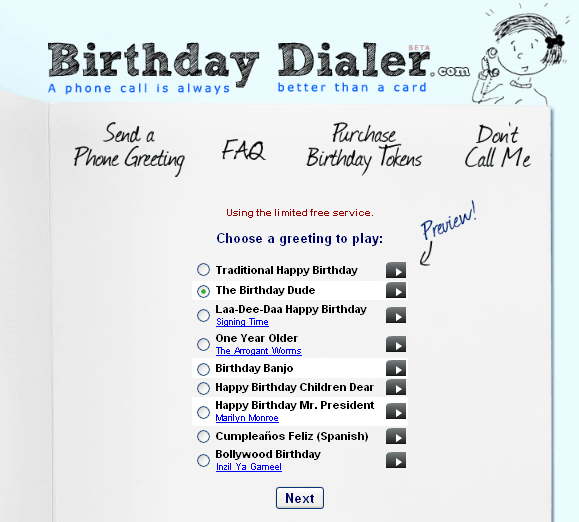 birthdaydialer   BirthdayDialer: Send Free Singing Birthday Telegrams By Phone