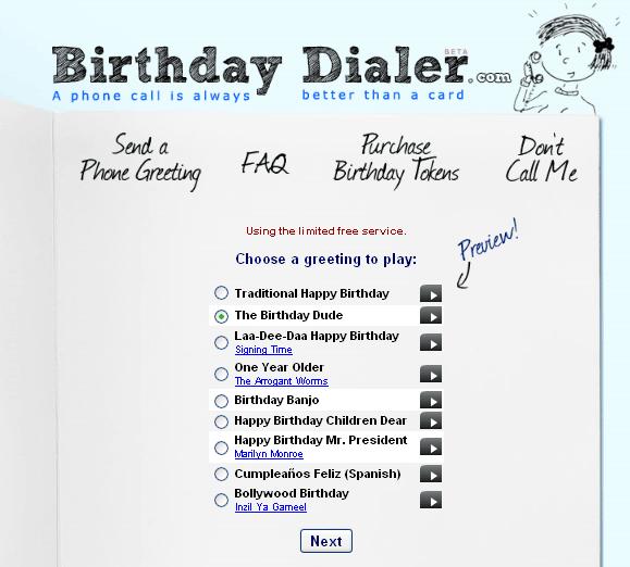 birthdaydialer   BirthdayDialer: Send Free Singing Birthday Telegrams By Phone