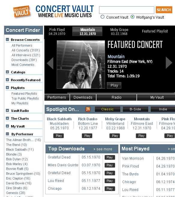 concertvault   Concert Vault: Listen To Live Concert Recordings Online