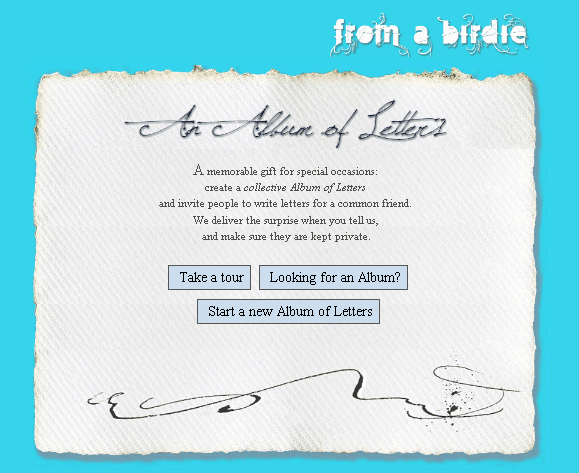 fromabirdie   FromABirdie: Create A Group Gift Album Of Letters From Friends