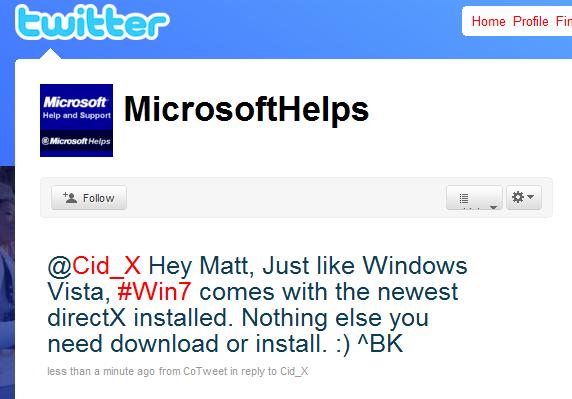 windows 7 on twitter