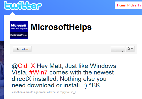 windows 7 on twitter