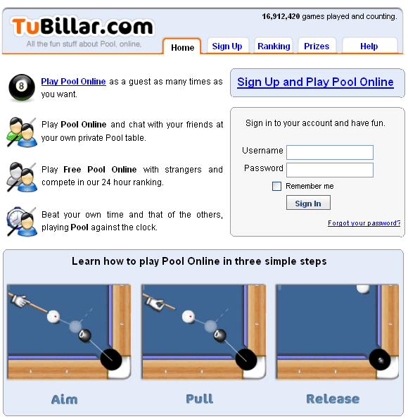 play virtual pool game online