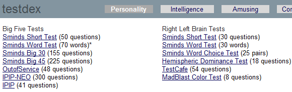 personality tests online