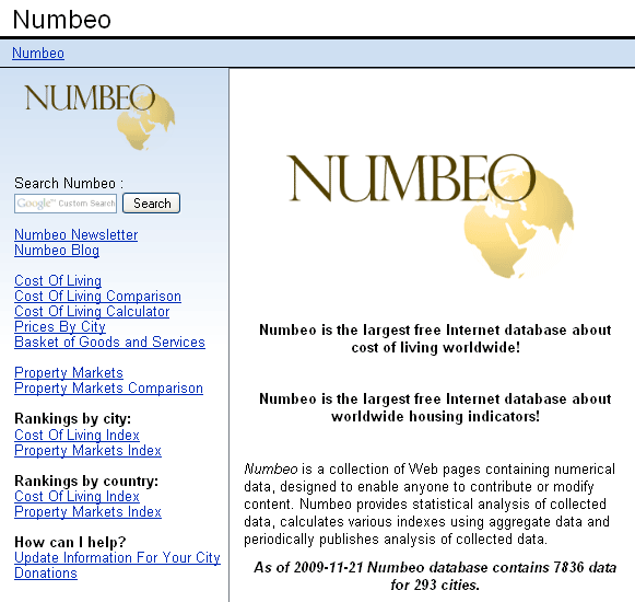 numbeo   Numbeo: Compare Cost Of Living Between ANY Major Two Cities