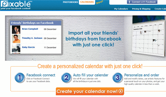 pixable   Pixable: Adds Facebook Friends Birthdays To Online Calendar