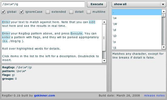 regular expression testing tool