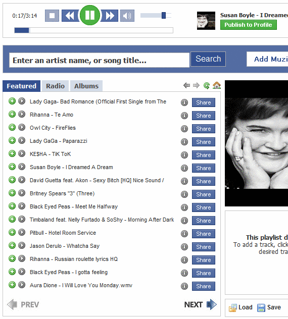 playlist to facebook