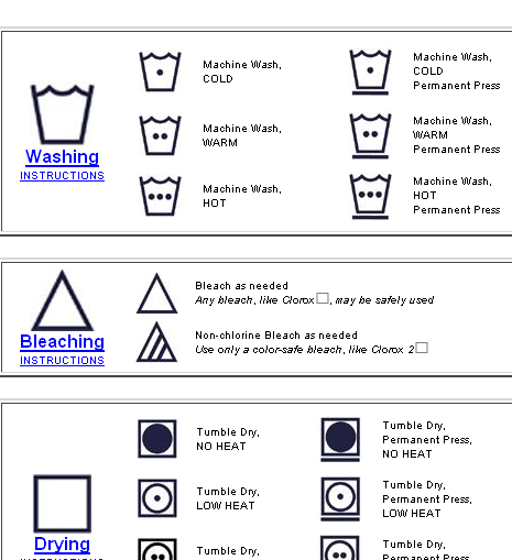 laundry labels symbols