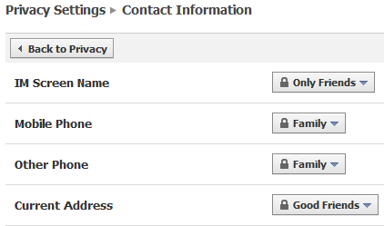 Contact Info Privacy