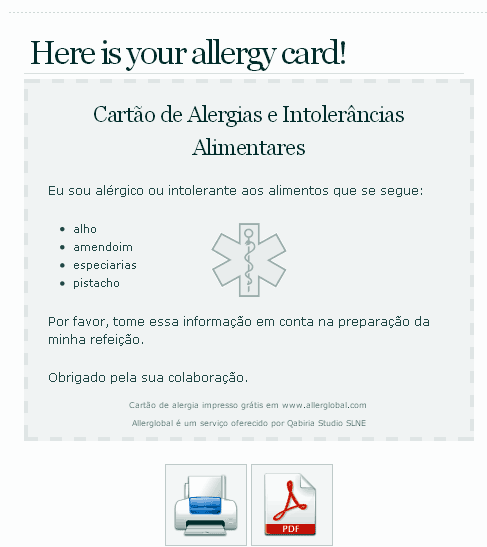 allergy travel cards