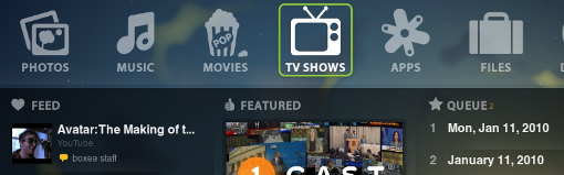 boxee main page
