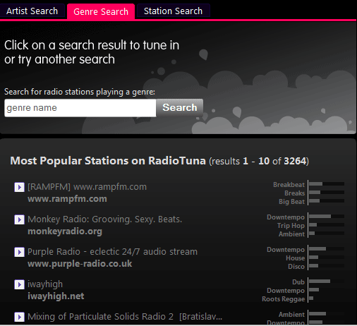 internet radio search engine