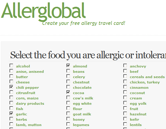 allergy travel cards
