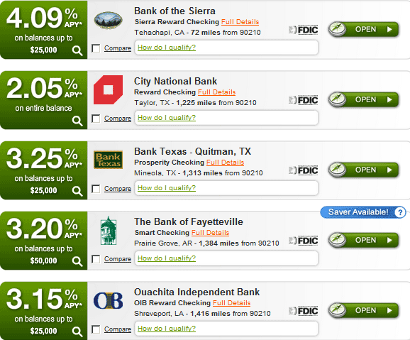 compare bank checking accounts