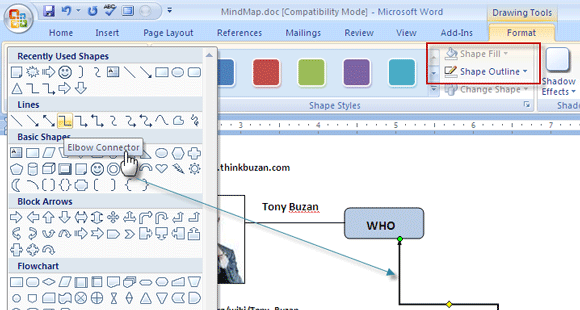 How to build a mind map in microsoft word ms word drawingtools3 ccuart Images