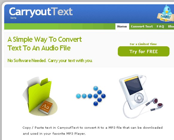 convert text into mp3