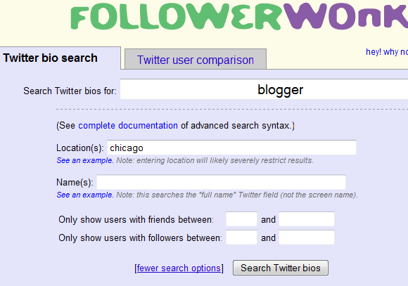 FollowerWonk: Search Twitter Bios, Location And Name