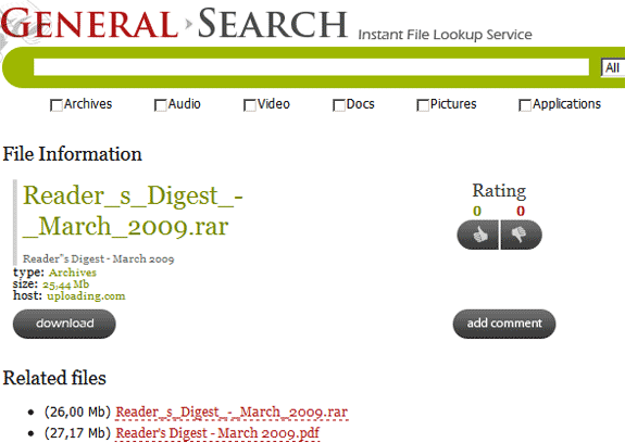 General-Search: Search Engine for File Hosting Sites