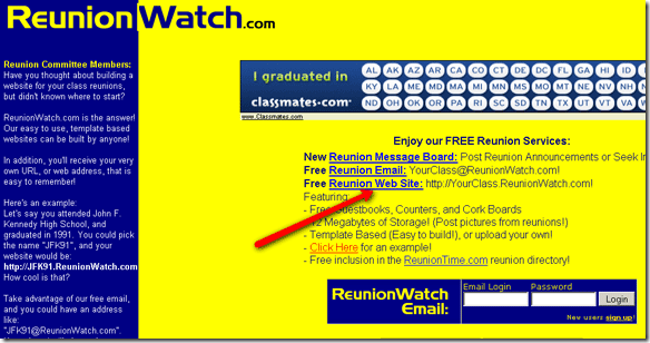 Create Your Own Free High School Reunion Websites