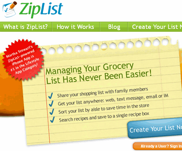 ziplist create grocery lists to print share online