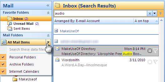 how to search for emails in outlook