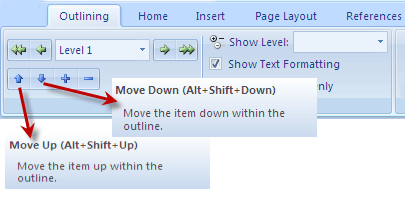 create outlines in word