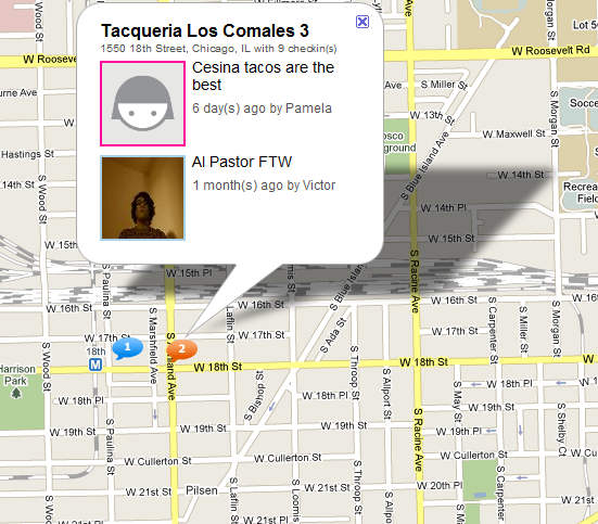 FourWhere: See FourSquare Tips On A Google Map four
